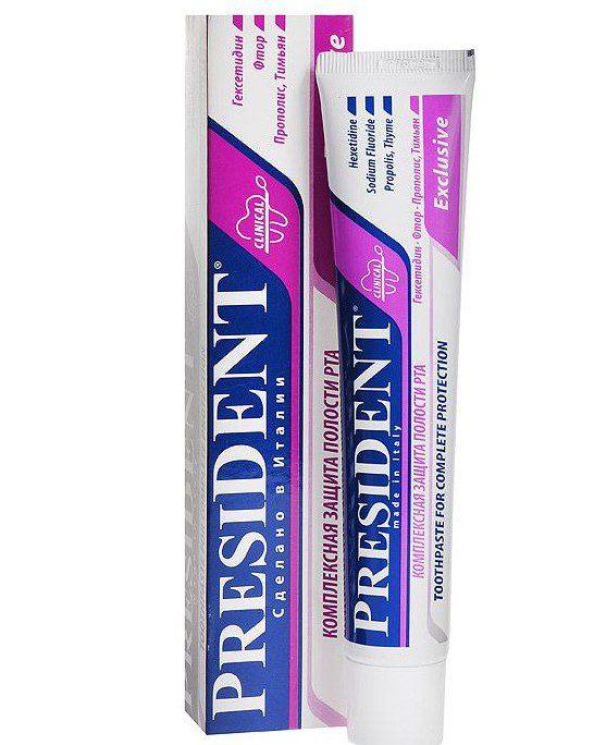 zubnaya-pasta-president-exclusive-75-ml-e1542297117402 Рейтинг ТОП 7 лучших лечебных зубных паст: плюсы и минусы, характеристики, отзывы, цены%obz